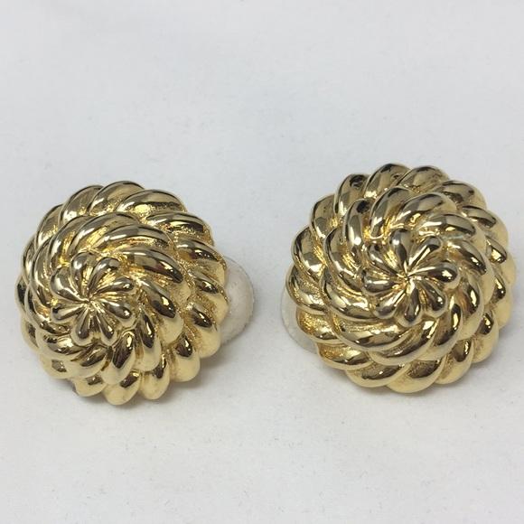 Kenneth Lane vintage gold tone earrings clip-on